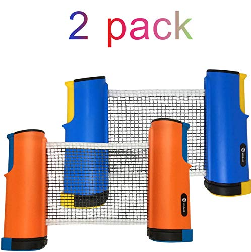 JP WinLook Ping Pong Net - 2 Pack Retractable Table Tennis Nets/Post Set Replacement, Adjustable Any Table Anywhere, Portable Travel Holder Case Bag, Indoor & Outdoor Accessories, Bracket Clamps