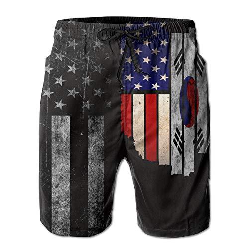 Men's Vintage USA South Korea Flag Board Shorts Beach Pants