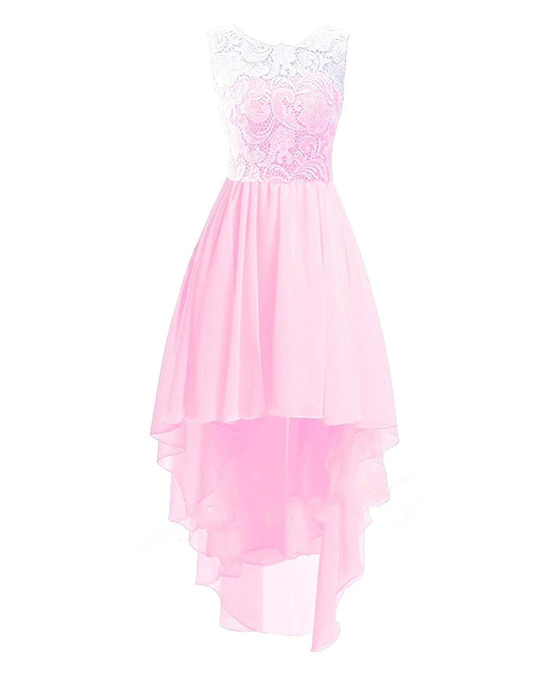 Rose Sur Mesure ISHSY Robe de Soirée Cérémonie Mariage Fille Enfant Longue Asymétrique Dentelle Taille 2-13 Ans
