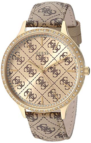 GUESS  Gold-Tone Brown Genuine Leather Crystal Logo Embossed Watch. Color: Brown (Model: U1229L2) ()