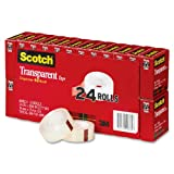 Scotch Transparent Tape, 3/4 x 1000 Inches, 24 Rolls (600K24)