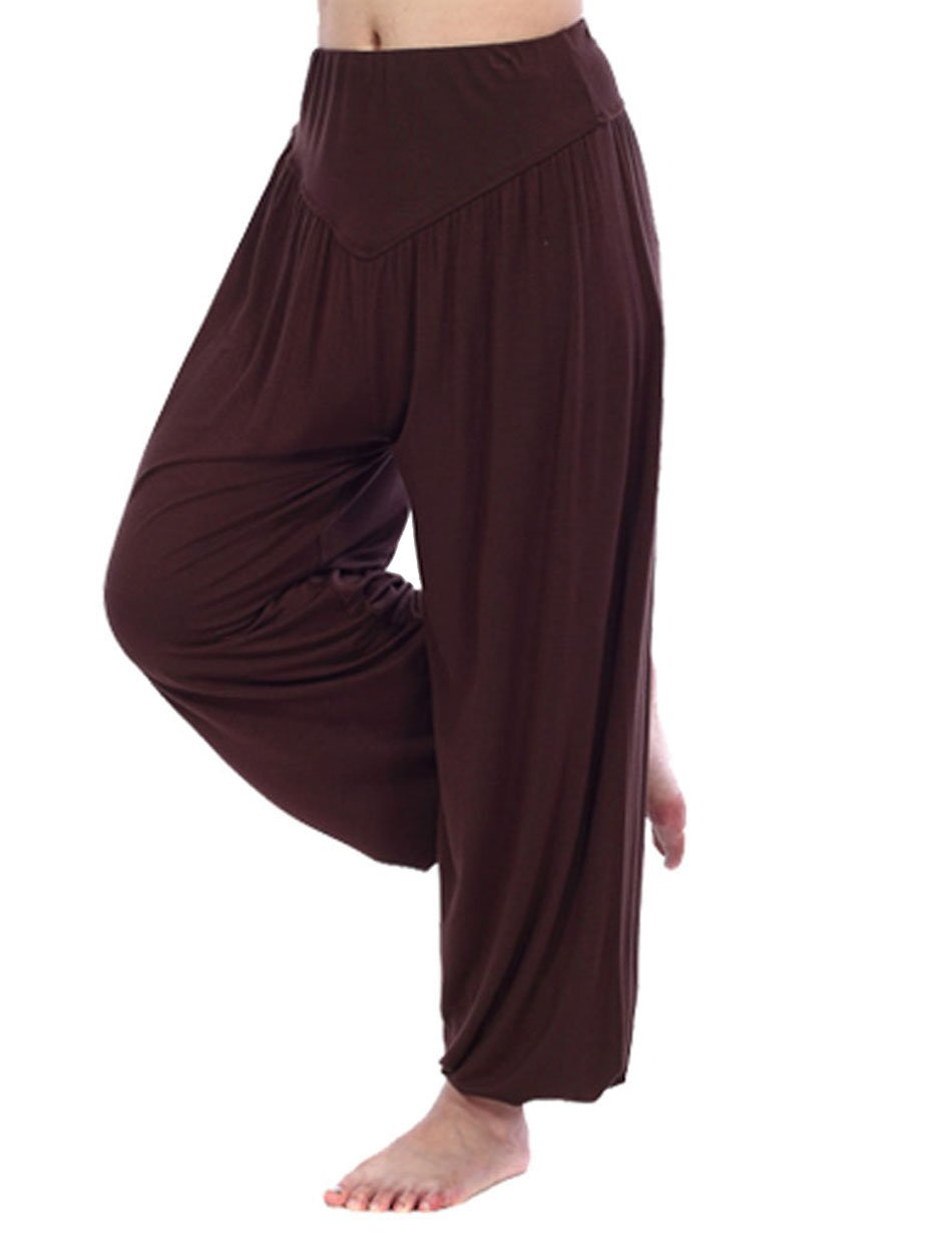 HOEREV Super Soft Modal Spandex Harem Yoga/ Pilates Pants Brown XS by HOEREV