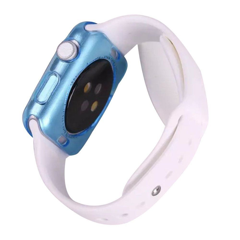 Apple iWatch 38mm Bumper Skin Hybrid Sleeve Protective Case Shockproof Crystal Ultra Thin Rugged Protect Guard Flexible Series 1 & 2 Lightweight Colored Watch Shell [Transparent Tpu Gel] (Blue)