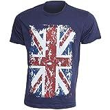 Herren Freizeit T-Shirt mit England Union Jack Aufdruck, kurzärmlig, 100% Baumwolle (S: 86cm - 91cm) (Marineblau)