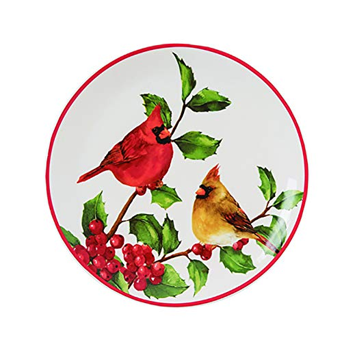 Classic Cardinals Rosy Red 8 x 8 Dolomite Ceramic Christmas Decorative Plate