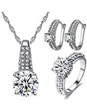 Necklace and earrings and ring size 6 for women Silver with white zircon stone