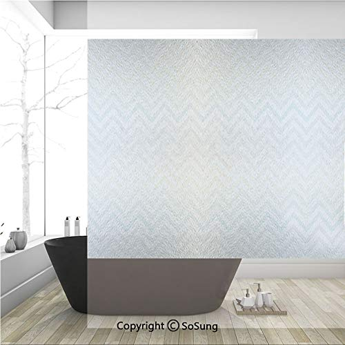 3D Decorative Privacy Window Films,Soft Colored Chevron Zigzag Pattern Line Art Old Paper Worn Effect Vintage Design Decorative,No-Glue Self Static Cling Glass film for Home Bedroom Bathroom Kitchen O