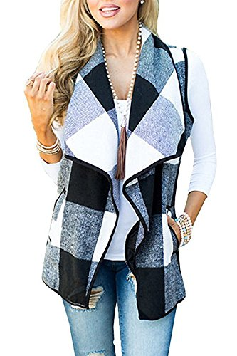 Womens Lapel Open Front Sleeveless Plaid Vest Cardigan with Pockets (White XL)