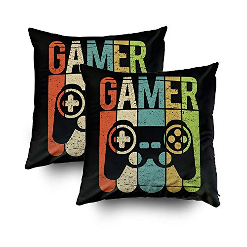 TOMWISH Christmas 2 Packs Hidden Zippered Pillowcase Christmas Game Controller 18X18Inch,Decorative Throw Custom Cotton Pillow Case Cushion Cover for Home