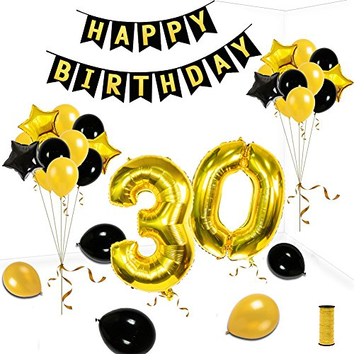 30th Birthday Theme Party Decorations Kit Gold Black Star Balloons Happy Birthday Banner Number 30 Big Foil Balloons Golden Ribbon