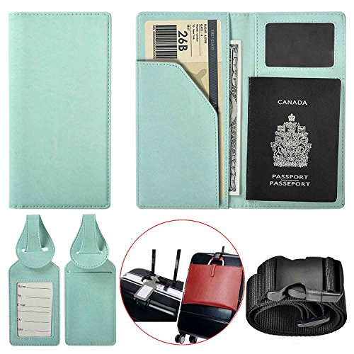 Travel Wallet Vegan Leather Passport Holder Cover Case with 2 Matching Luggage Tags and Luggage (Light Blue)