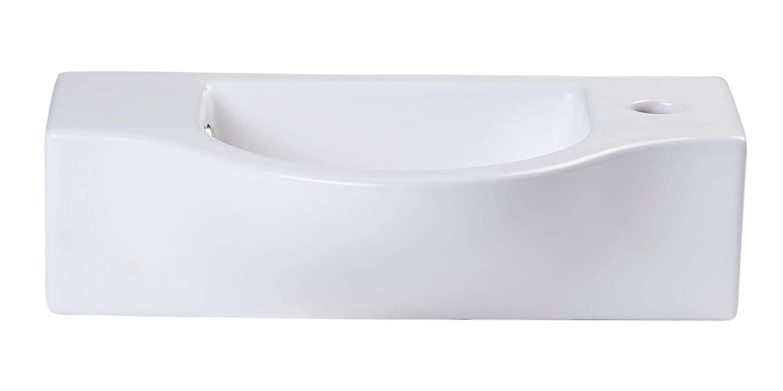 White Alfi AB105 Ceramic Wall Mounted Rectangle Bathroom Sink 17 X 10 X 5 inches