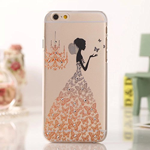 """FILD(TM) Shining Bling Crystal Diamond Wedding Dress Girl Design Hard Back Case Skin Cover For Apple iphone 6 Plus 5.5"""",With Fish Bone Earphone Cable Cord Winder(Color Random),Screen Protector and Stylus, Orange"""
