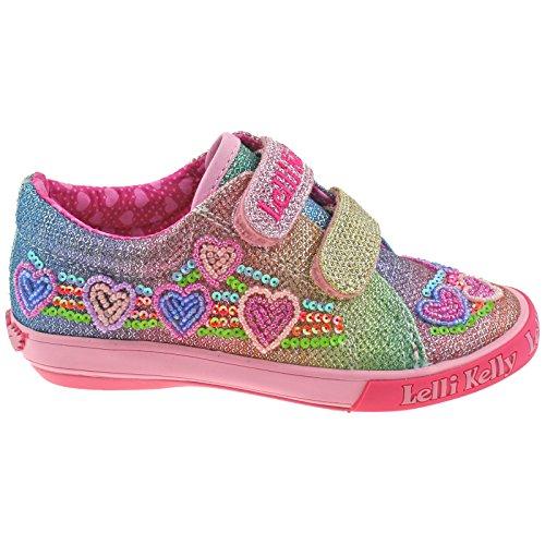 Lelli Kelly LK5071 (GX02) Multi Glitter Rainbow Hearts Adjustable Shoes-33 (UK 1)