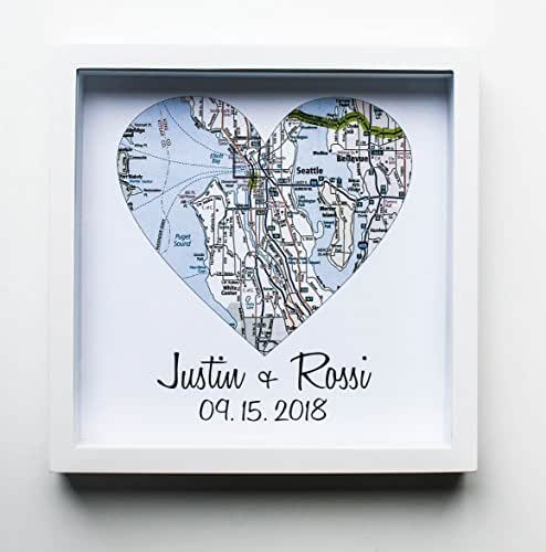 Amazon.com: Heart Map Framed Art Map Heart Wedding Gifts