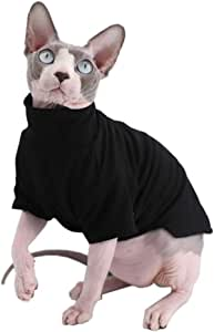 Sphynx Cat Clothes Winter Thick Cotton T-Shirts Double-Layer Pet Clothes, Pullover Kitten Shirts with Sleeves, Hairless Cat Pajamas Apparel for Cats & Small Dogs (M+ (7.2-8.7 lbs), Black)