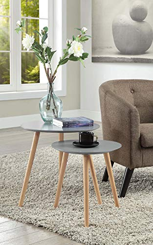 Convenience Concepts 203542GY Oslo Nesting End Tables, Gray/Light Oak,