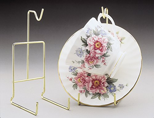 Brass Cup & Saucer Stand (Tea Cup and Saucer Stand - Pack of Two Stands - Smooth Brass - Cup and Saucer)
