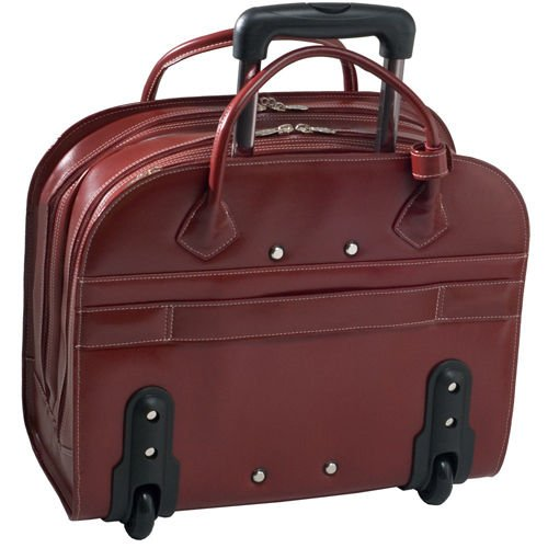 McKlein Granville Wheeled Ladies' Red Leather Laptop Case