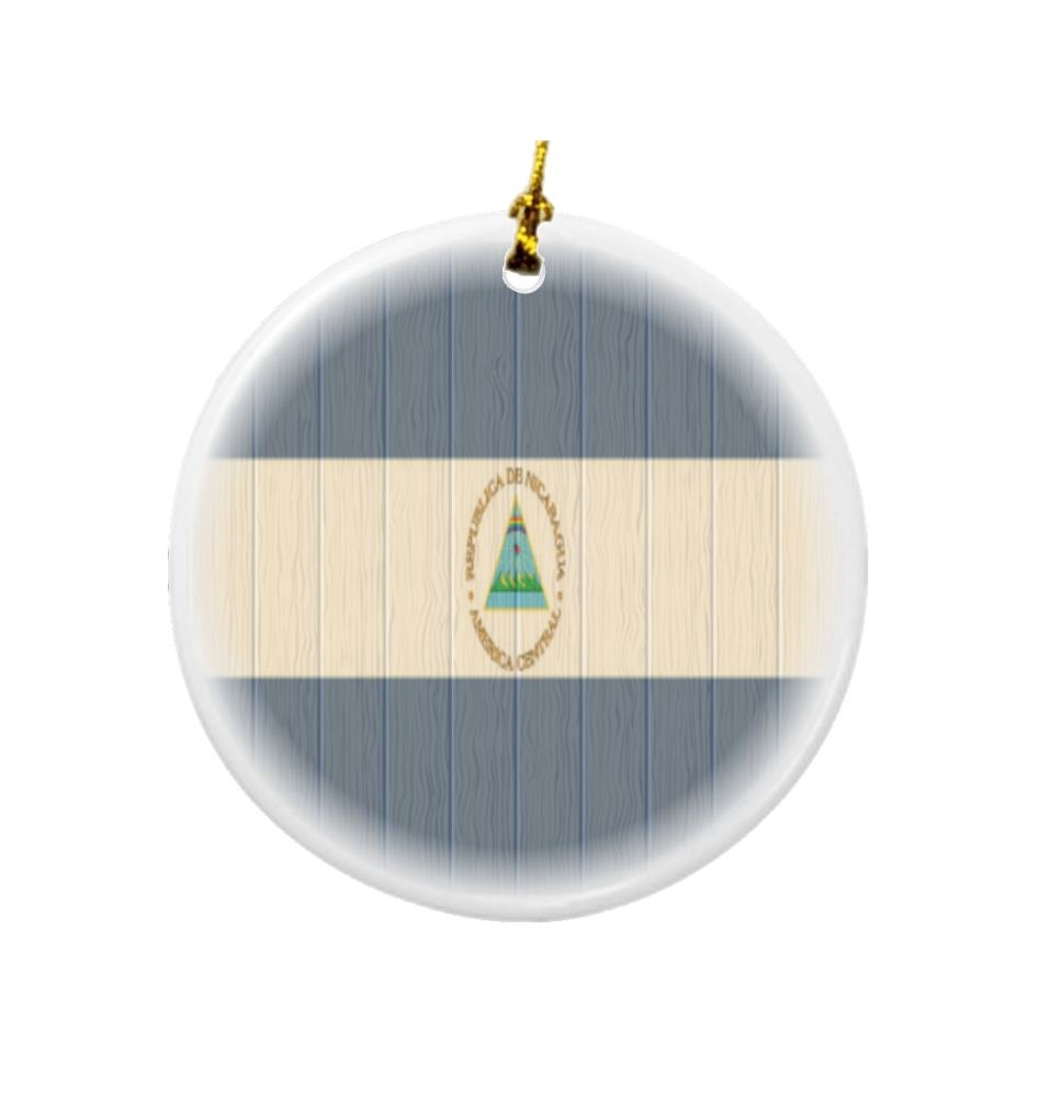 Rikki Knight Nicaragua Flag on Distressed Wood Design Round Porcelain Two-Sided Christmas Ornaments