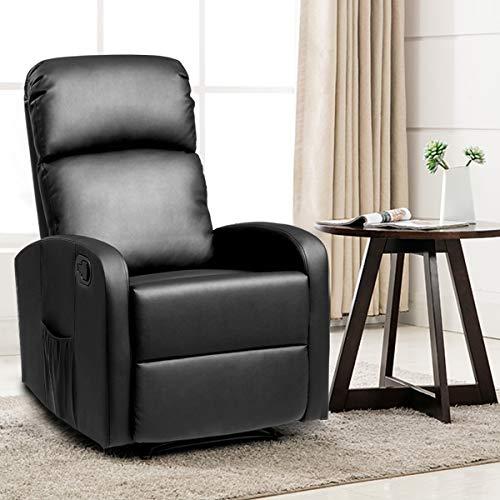 Giantex Massage Rocker Recliner Chair, PU Leather Single Sofa Recliner, Heavy Padded Seat, 5...