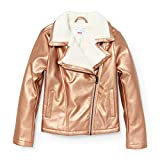 The Children's Place Big Girls' Metallic Motorcylcle Jacket, Rose Gold 91101, XL (14)