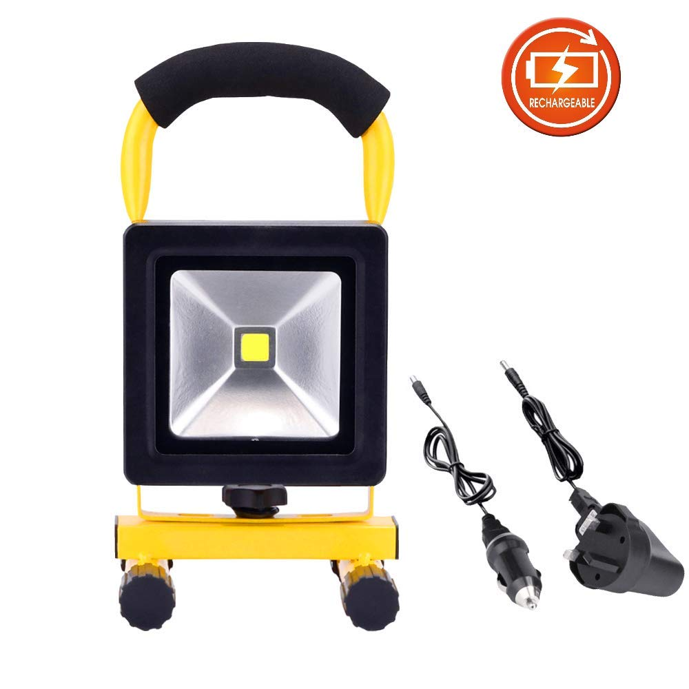 10W LED Security Lights Rechargeable Portable Work Light IP65 Waterproof Floodlight Outdoor Lamp Car Emergency Light for Camping Workshop Home Garden Garage [Energy Class A+] SanCla EU