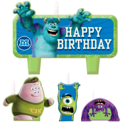 [Party Time Disney Monsters University Molded Mini Character Birthday Candle Set, Pack of 4, Green , 1.25