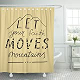 Emvency Fabric Shower Curtain Curtains with Hooks Bible Hand Lettering Let Your Faith Moves Mountains Biblical Christian Verse Believe Believer Calligraphy 66''X72'' Waterproof Decorative Bathroom