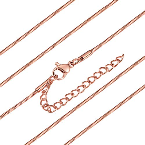 ChainsHouse Unisex Rose Gold Plated Snake Chain Hip Hop Punk Style Jewelry 1.2 Wide Link Necklace for Boys Girls, Wear Alone or with Pendant, 24 Inch