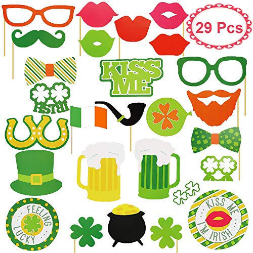 29pcs Easter Party Favors Clearance Photo Booth Props Irish Party Supplies Photo Props with Sticks Easter Selfie Props for Kids Men Women Birthday Wedding DIY Props with Shamrock -