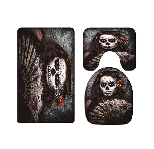 A.Monamour Day of The Dead Holiday Decors Traditional Woman with Painted Face Scary Skull Mask Art Print Flannel Toilet Seat Covers Toilet Lid Covers Cushions Pads Skidproof Bath Mat Rug ()
