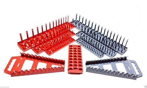 """Hansen 1/4 3/8 1/2"""" 9pc Socket Tray Wrench Rack Organizer Set Metric SAE USA"""