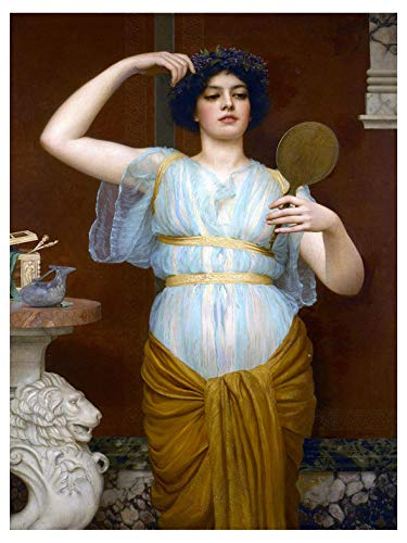 Ione by John William Godward Girl Woman Mirror Flower Wreath Accent Tile -