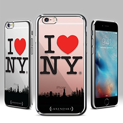 Luxendary I Love NY Famous New York City & State Symbol Logo with Heart Sign & NYC Skyline Design, Ultra Slim Chrome Finish Case for iPhone 6/6S