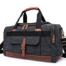 YuHan Large Capacity Canvas Travel Duffel Bag Leather Shoulder Bag Outdoor Weekend Overnight Holdall Bag