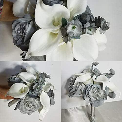 Whole Foods Wedding Bouquet: Amazon.com: Grey Rose Calla Lily Bridal Wedding Bouquet