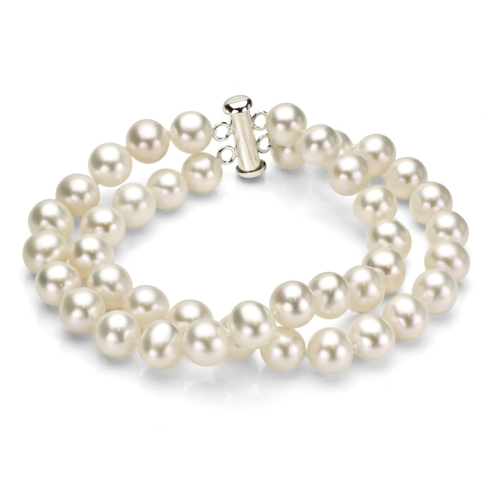 Sterling Silver 2 Rows 8-8.5mm White Freshwater Cultured Pearl Bracelet with Tube Clasp, 8.75''