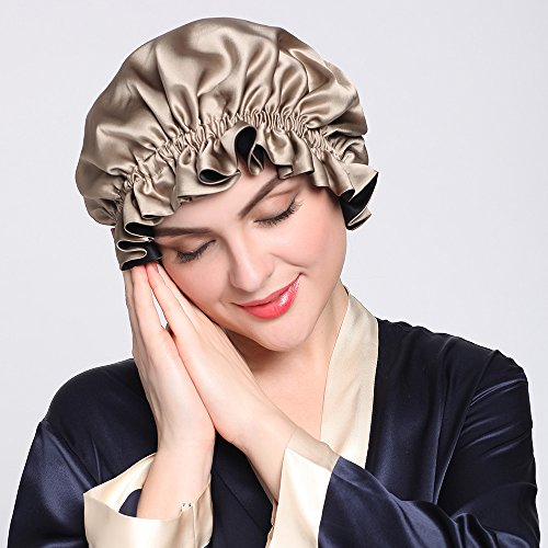 LilySilk Pure Silk Lined Cap for Women Sleep, Double Layered, Adjustable Ribbons, Luxury Natural Silk Bonnet Cap for Sleeping ()