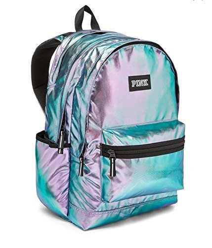 Victoria's Secret PINK Campus Backpack Iridescent Foil Zipper NEW
