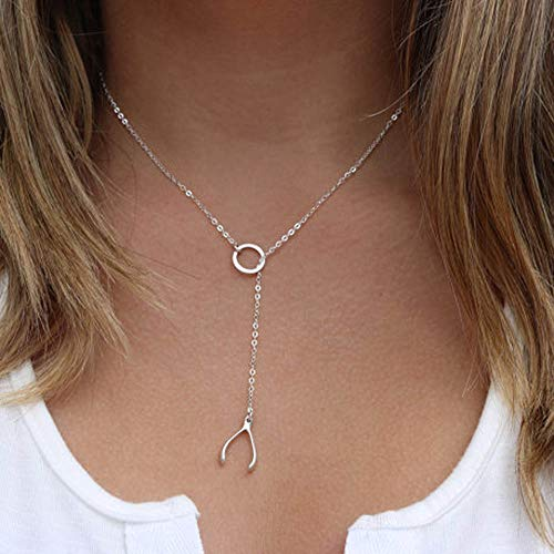 Jovono Fashion Y-Necklaces Wishbone Pendant Necklace Chain Jewelry for Women and Girls (Silver)