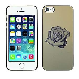 Rose Tattoo Ink Roca Rollo Amor Amarillo- Metal de aluminio y de plástico duro Caja del teléfono - Negro - iPhone 5 / 5S