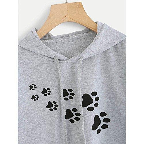 Gris Lache Femmes Sweatshirts Chat Blouses LILICAT Empreinte Hoodies Court Tops S mode Empicement Vtements Mignon gray XL OSXnOwUIq