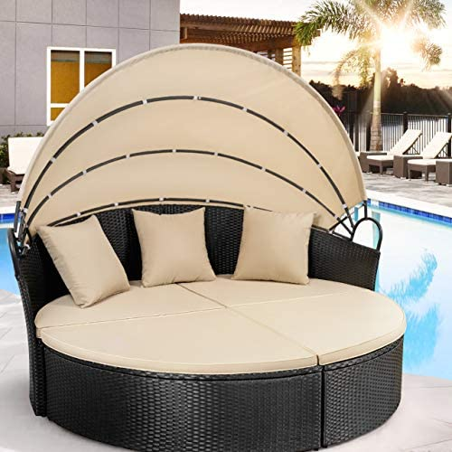 patio, lawn, garden, patio furniture, accessories, patio seating,  sofas 1 discount Homall Patio Furniture Outdoor Daybed with Retractable Canopy promotion