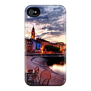 For Iphone 4/4s Tpu Phone Case Cover(beautiful Seaside Restaurant Hdr)