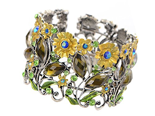 Rhinestone Green Bangle - Alilang Antique Floral Green Blue Crystal Rhinestone Yellow Flower Garden Bracelet Bangle Cuff