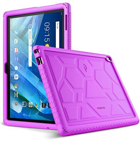 Lenovo Moto Tab Case, Poetic TurtleSkin Series [Corner/Bumper Protection][Grip][[Bottom Air Vents] Protective Silicone Case for Lenovo Moto Tab (X704A)/Lenovo Tab 4 10 Plus Tablet - Purple