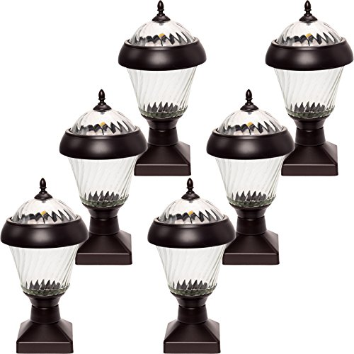 6 Pack GreenLighting Bahama High End Solar Post Cap Lights (Remington Bronze) by GreenLighting