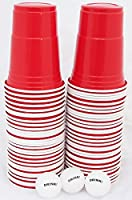 US College Party Beer Pong Partybecher Rot Set mit 60 stück stabilen (480ml),...