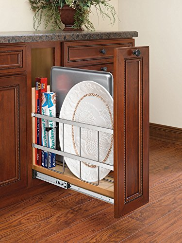 - Rev-A-Shelf - 447-BC-5C - 5 in. Pull-Out Wood Base Cabinet Tray Divider and Foil & Wrap Organizer